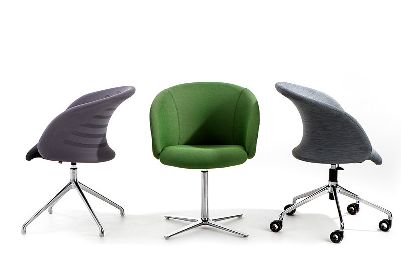 Studio photography of three contract office chairs for Burgess Furniture, by commercial photographer Simon Eldon