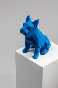 blue 3d printed dog sculpture