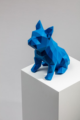 blue 3d printed dog sculpture