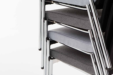 Studio photography of a stack of conference chairs for Burgess Furniture, by commercial photographer Simon Eldon