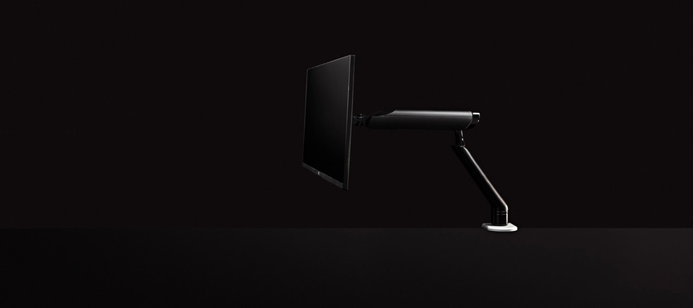 computer monitor on black background
