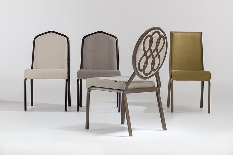 Studio photography of four contract conference chairs for Burgess Furniture, by commercial photographer Simon Eldon