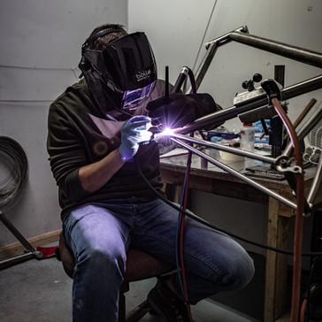 bike frame being welded