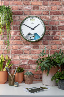 styled advertising photo of Bramwell Brown weather clock
