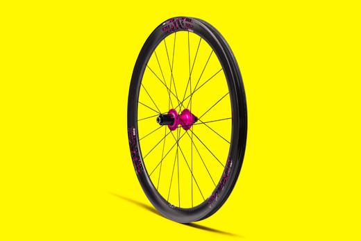 Sharp Wheels carbon wheel with pink hub