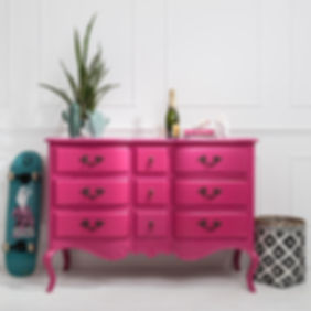 Styled pink chest of drawers photo for Out There Interiors, by product photographer Simon Eldon