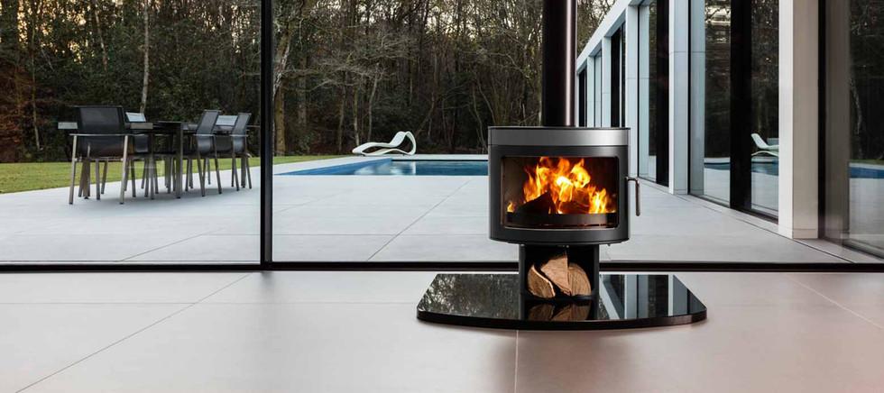 lifestyle image of wood burning stove