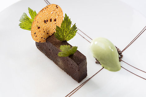 Food photography of a dessert for Michelin starred restaurant Gravetye Manor in Sussex, by Simon Eldon