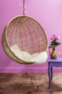 Lifestyle photography of a hanging chair for Out There Interiors, by product photographer Simon Eldon