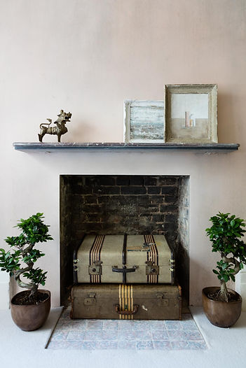 Interior photography of the styled fireplace for George Clarke - Old House New Home TV series, by commercial photographer Simon Eldon