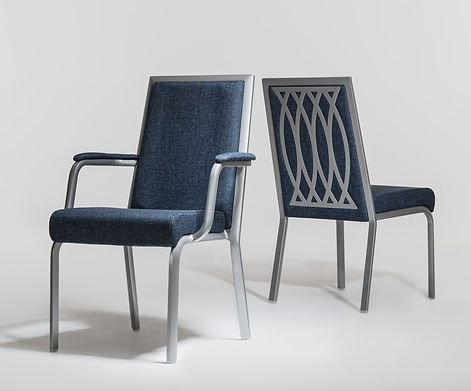 Studio photography of two contract conference chairs for Burgess Furniture, by commercial photographer Simon Eldon
