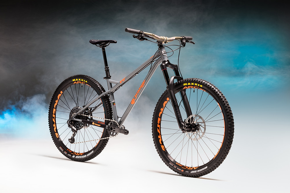 Mountain Bike, shot in a studio with smoke and blue light in the background