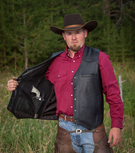 Drover Conceal Carry Leather Vest