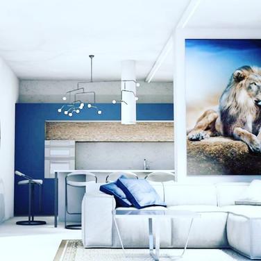 дизайн проект гостиной студии