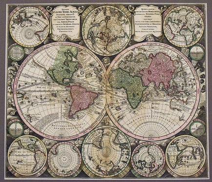 1730 Seutter Captivating World Map