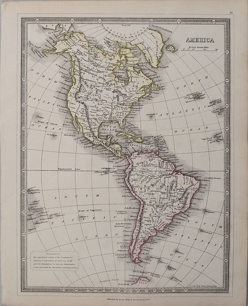 1852 Philip Map of North and South America