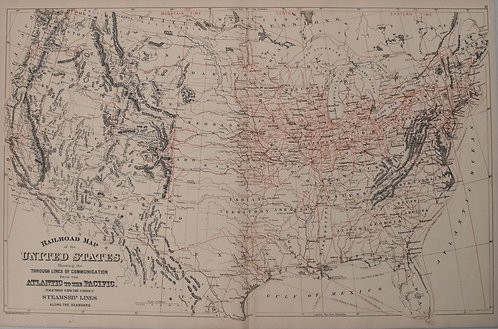 1887 Mitchell Railroad and Steamboat Map of the US