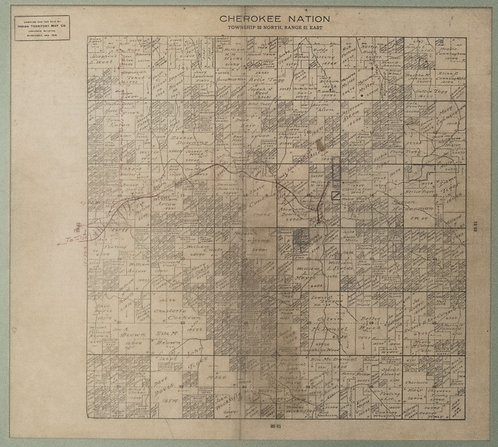 1900 Plat Map of a Section of Cherokee Nation Land