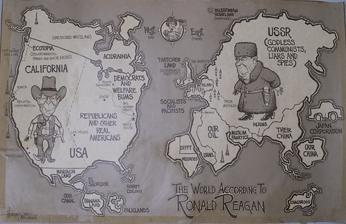 1982 Horsey Pictorial Map of the World According to Ronald Reagan