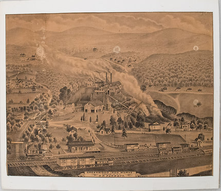1875 Andreas Birds Eye View of Greenwood Iron Works, NY