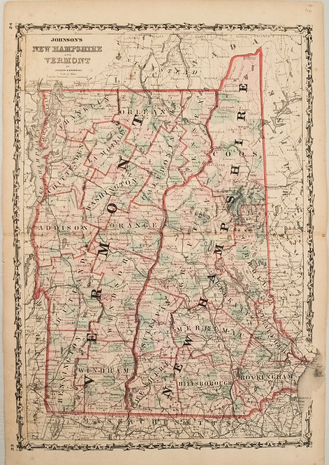 1861 Johnson Map of New Hampshire and Vermont