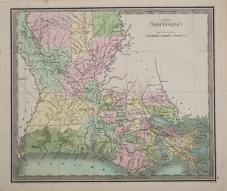 1842 Greenleaf Map of Louisiana
