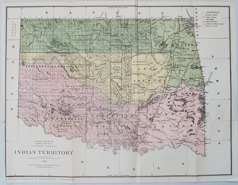 1883 General Land Office Map of Indian Territory