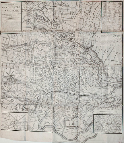 1793 Laurent Large Map of Manchester, England