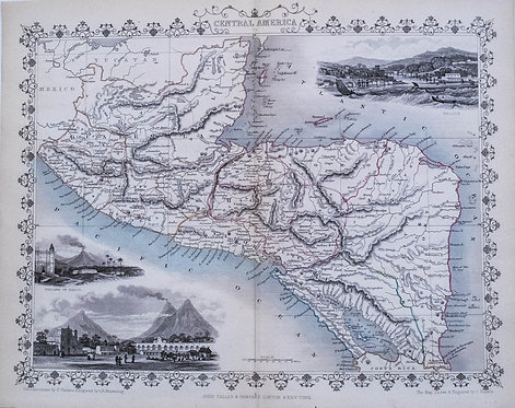 1851 Tallis Ornate Map of Central America