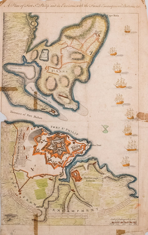 1756 Map of Minorca's St. Philip and Mahon Harbor