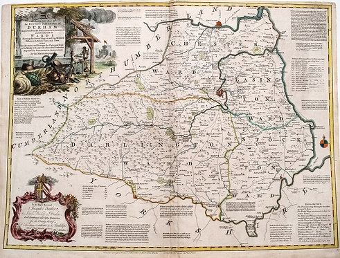 1760 Kitchin Map of Durham, England