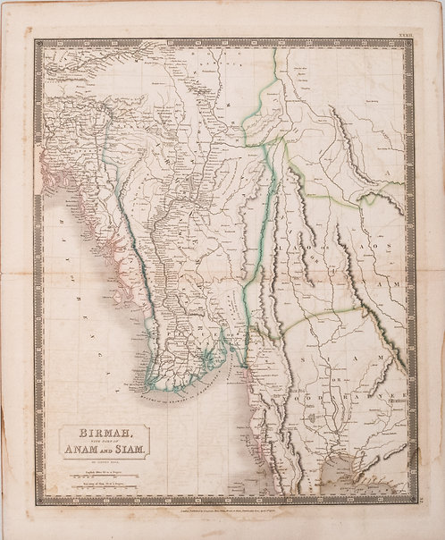 1829 Hall Map of South East Asia, incl. Myanmar (Burma) and Thailand