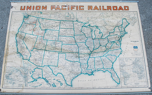 1940 Union Pacific Railroad Routes & USA Wall Map