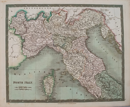 1831 Teesdale Map of Northern Italy