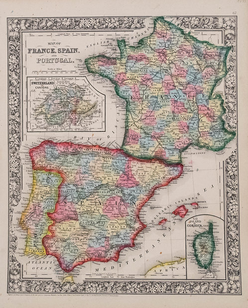 1862 Mitchell Map of France, Spain, Portugal and Helvetia