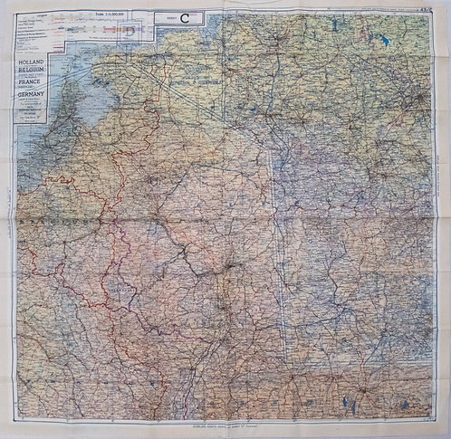 1944 British Air Force Escape Map (C & D) of France, Benelux, Switzerland and Ge