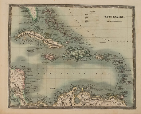 1831 Teesdale Map of Caribbean