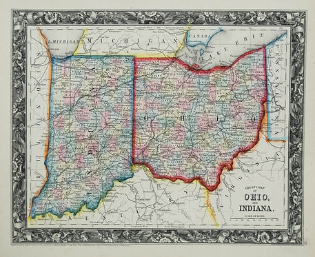 1860 Mitchell Map of Indiana and Ohio