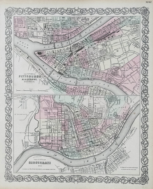 1874 Colton Map of Pittsburgh and Cincinnati