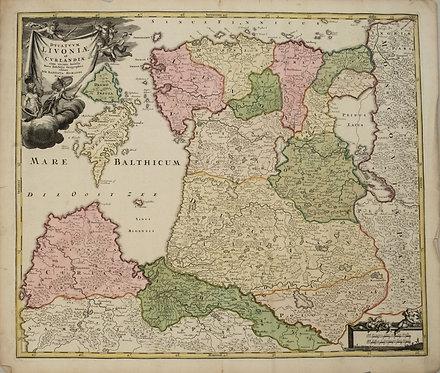 1720 Homann Map of Estonia and Latvia