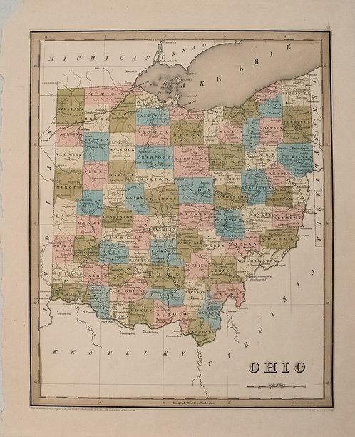 1838 Bradford Map of Ohio