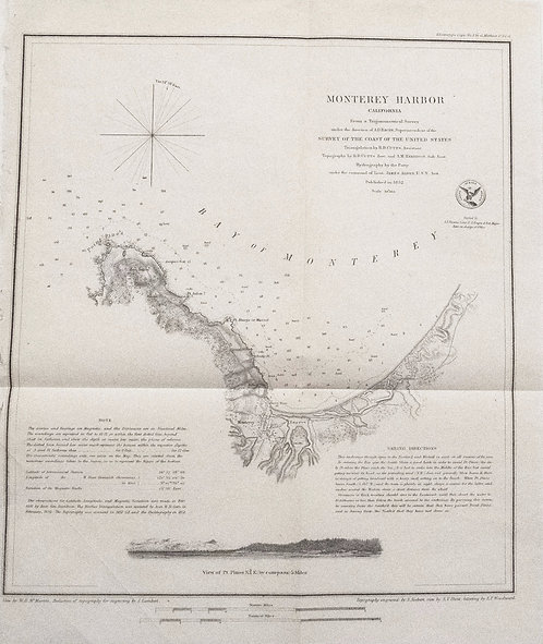 1852 Nautical Chart & Coastal Map of Monterey, CA