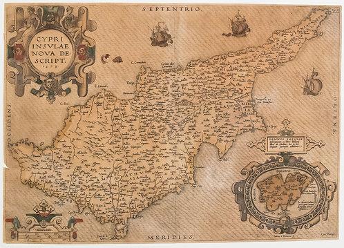 1573 Ortelius Map of Cyprus