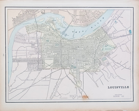 1886 Cram's Map of Louisville and verso Milwaukee