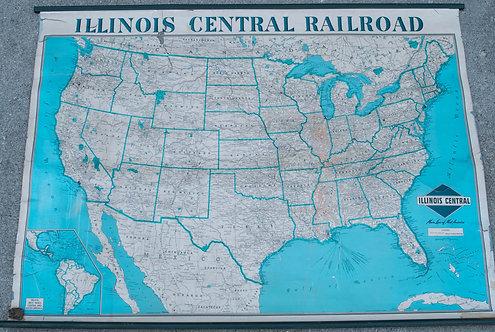 1940s Illinois Cental Rail Road Wall Map