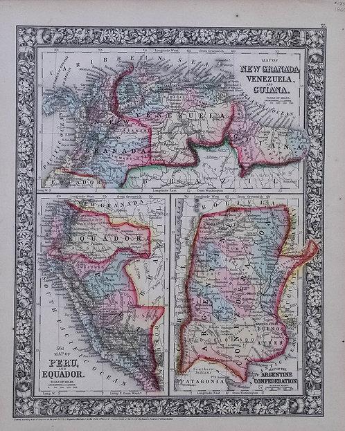 1860Mitchell:Venezuela,Columbia,Granada,Peru,Equ'r