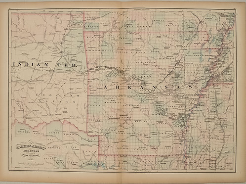 1872 Asher and Adams Map of Arkansas and Western Indian Territory