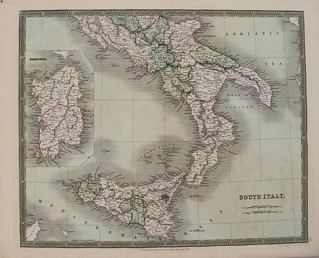 1831 Teesdale Map of Southern Italy