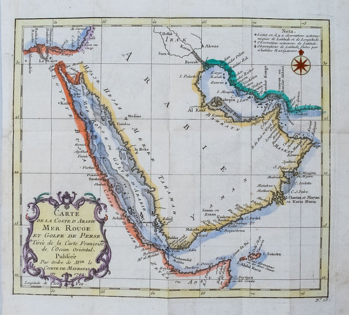 1728 Bellin Map of Arabia and Red Sea