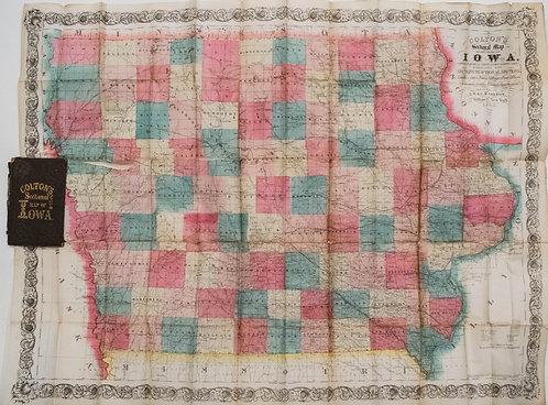 1864 Colton Pocket Map of Iowa
